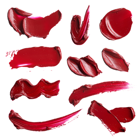 Photo pour set of smears from various cosmetic products on a white background - image libre de droit