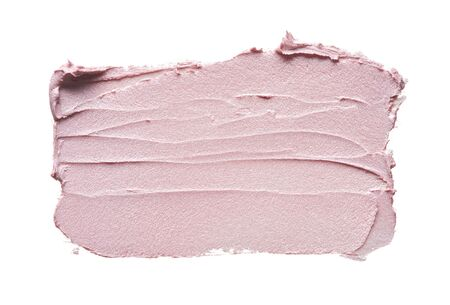 Photo pour Pink makeup smear of creamy foundation isolated on white background. Pink creamy foundation texture background - image libre de droit