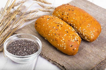 Wheat rye bread with flax seeds, chia, sesame