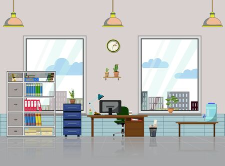 Illustration for Office workplace with table, bookcase, windows with house plant. Modern computer, table shelves, lamp, water container and all office table staff for work. Flat vector illustration for cartoon and animation props - Royalty Free Image