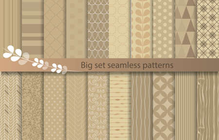 Illustration pour big set seamless patterns, kraft paper style, pattern swatches included for illustrator user, pattern swatches included in file, for your convenient use. - image libre de droit