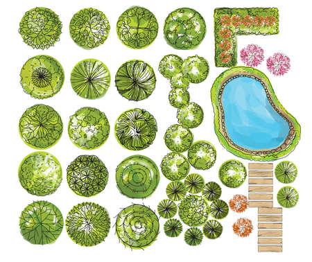Illustration pour set of treetop symbols, for architectural or landscape design. vector - image libre de droit