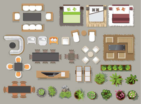 Interior icons top view, tree ,furniture, bed,sofa, armchair, for architectural or landscape design, for map.vector illustrationのイラスト素材