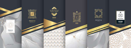 Illustration for Collection of design elements, labels, icon, frames for packaging, design of luxury products. Made with golden foil. Isolated on silver and marble background. vector illustration - Royalty Free Image