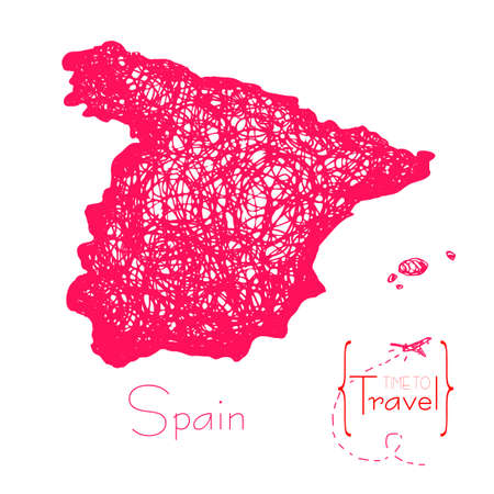 Map Of Spain Over Time.Time To Travel Drawn By Hand A Map Of Spain Outline Of Japan For