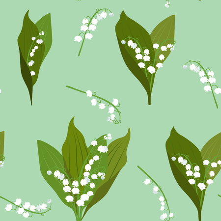 Illustration pour Seamless vector illustration with may lily of the valley on a green background. For decoration of textiles, packaging and web design. - image libre de droit