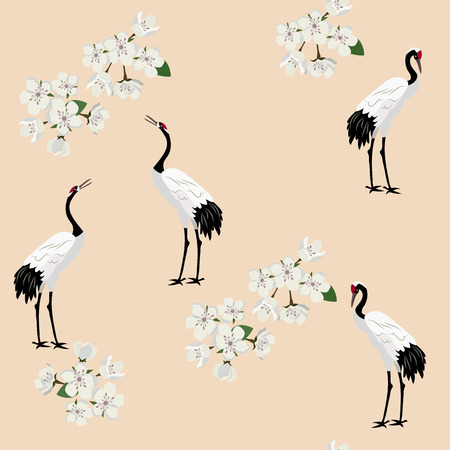 Illustration pour Seamless vector illustration with birds cranes and sakura flowers on a beige background. For decorating textiles, packaging, web design. - image libre de droit