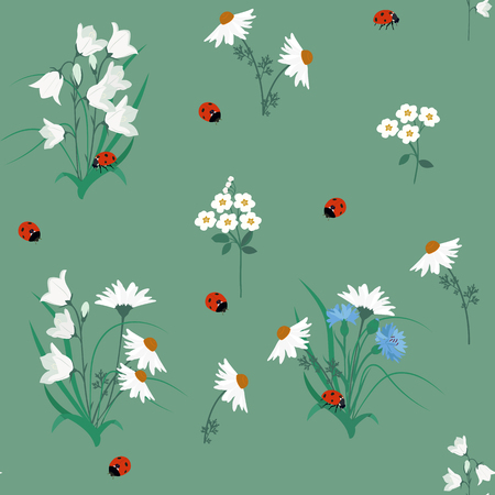 Illustration for Seamless pattern of campanula flowers, chamomile , cornflowers and ladybug on green background. Vintage style. Vector stock. - Royalty Free Image
