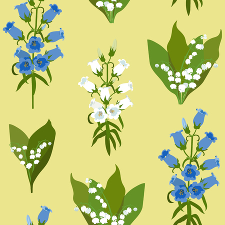 Illustration pour Seamless vector illustration with lily of the valley and campanula on a yellow background. For decorating textiles, packaging, web design. - image libre de droit
