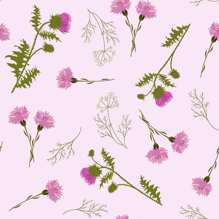 Illustration for Seamless vector illustration with thistle and cornflowers on a pink background. For decorating textiles, packaging, web design. - Royalty Free Image