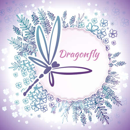 Illustration pour Vector botanical banners with dragonfly and flowers. Floral design for natural cosmetics, perfume, women products. Can be used as a greeting card, wedding invitation, spring background - image libre de droit