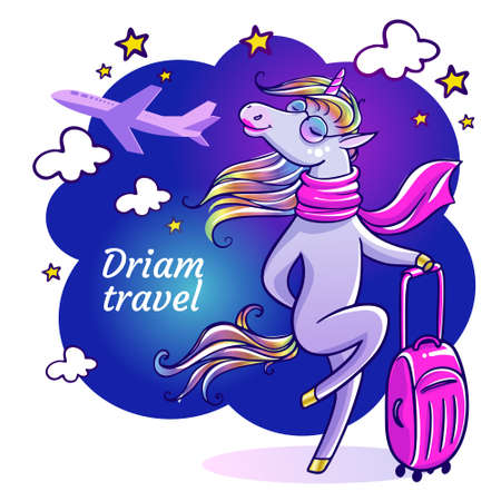 Ilustración de Beautiful unicorn with pink suitcase. Flight attendant on vacation. Travel greeting card with unicorn with sunglasses in summertime. - Imagen libre de derechos