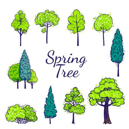 Illustration pour Spring tree set. Vector tree collection. - image libre de droit