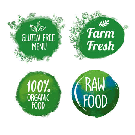 Illustration for Bio, Ecology, Organic icons, labels, tags. Hand drawn bio healthy food badges, set healthy food signs, organic and elements set. for restaurants,farm market and organic products packaging - Royalty Free Image