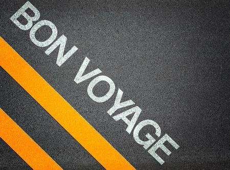 Bon Voyage Text Writing Asphalt Road Floor