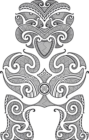 Tiki the first man. Maori style tattoo design. Vector illustration.