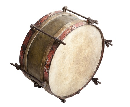 Old snare drum isolated on white background