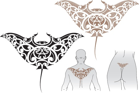 Maori styled tattoo pattern in shape of manta ray  Fit for upper and lower back