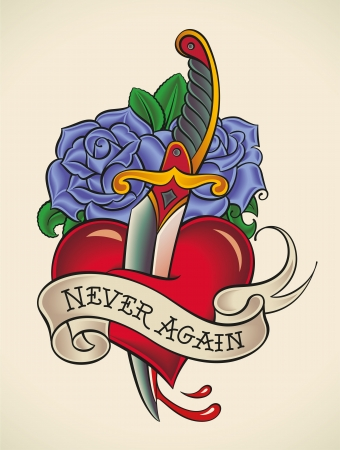 Old-school styled tattoo of a dagger through heart with blue roses on the background