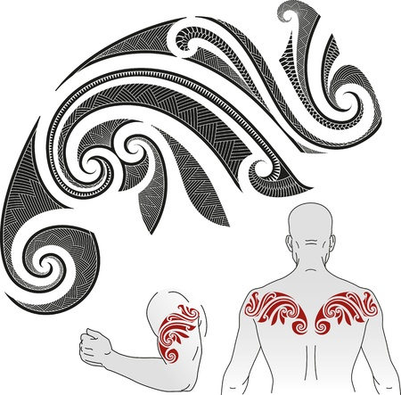 Maori styled tattoo pattern in a shape of chameleon  Good for a shoulder or an upper back