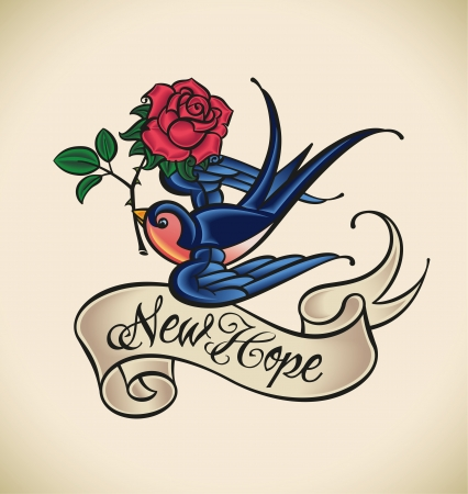 Old-school styled tattoo with a swallow, banner and rose