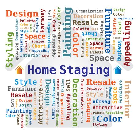 Illustration pour Word Cloud - Home Staging - Real Estate - image libre de droit