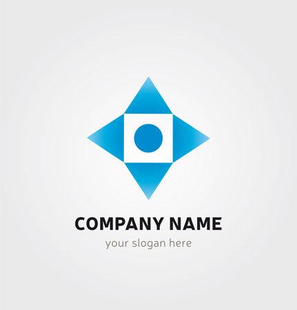 Illustration pour Single Logo Design - Square, Arrows and Dot Elements - image libre de droit