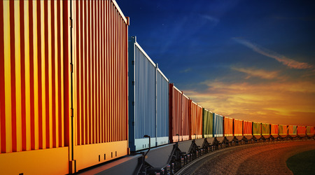 3d illustration of wagon of freight train with containers on the sky background
