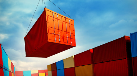 Photo pour 3d rendered illustration of an industrial port with containers. Loading container - image libre de droit