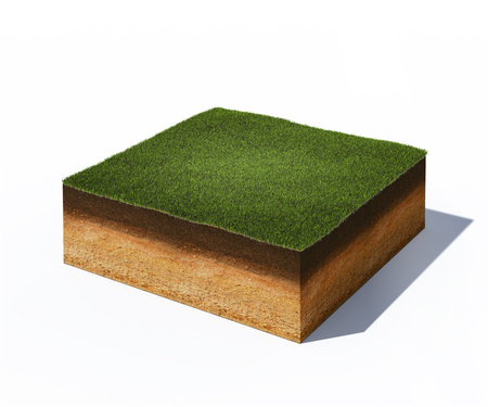 Photo pour 3d illustration of isometric cross section of ground with grass isolated on white - image libre de droit