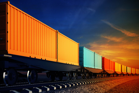 Photo pour 3d illustration of wagon of freight train with containers on the sky background - image libre de droit