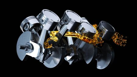 Photo pour Motor parts as crankshaft, pistons with motor oil splash. - image libre de droit