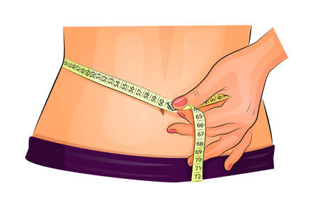 illustration of a female measuring waist with measuring tape