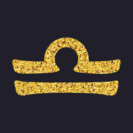Golden shiny symbol libra on a black background. Vector illustration