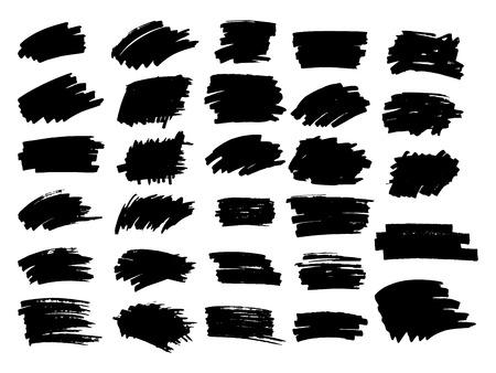 Photo pour Set of black paint, ink brush strokes, brushes, lines. - image libre de droit