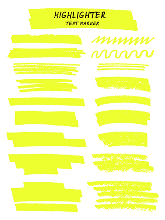 Illustration pour Vector yellow highlighter brush lines on white background. Hand drawing. - image libre de droit