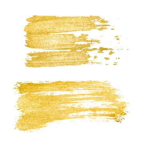 Illustration for Vector golden brush stroke, brush, line or texture. Hand drawn brush stroke design element, box, frame or background for text. Gold Texture Paint Stain - Royalty Free Image