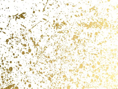 Illustration for Gold round splash dots or glittering spangles background. Hand drawn spray texture. Golden blots, sparks, sparkles or glitter on white background template. Vector - Royalty Free Image