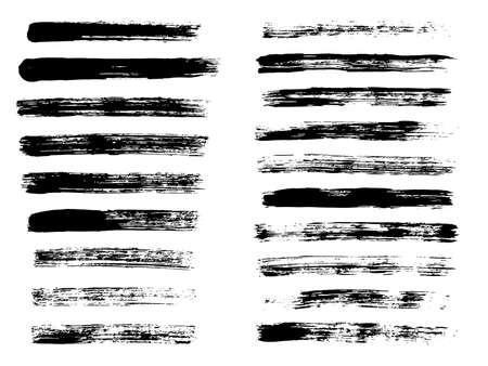 Illustration pour Painted grunge stripes. Black labels, background, paint texture. Brush strokes vector. Handmade design elements. - image libre de droit