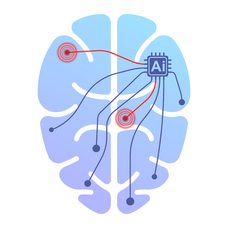 Icon of a human brain running by artificial intelligence. Impact on certain points by impulse. Isolated vector illustration on white background