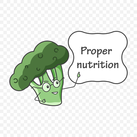 Illustration pour Icon broccoli in glasses pointing to a plate with the inscription - proper nutrition. Vector illustration on a transparent background - image libre de droit