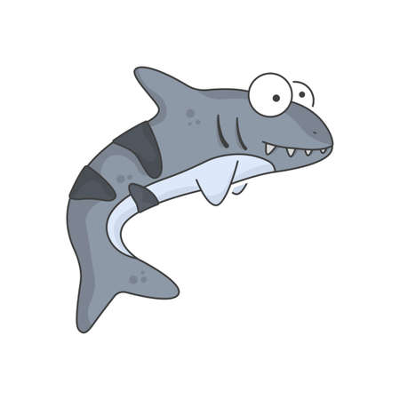 Illustration pour Cute shark baby icon. An image of a kind and smiling predator with large bulging eyes. Isolated vector illustration on a clean white background. - image libre de droit