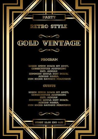 Illustration pour vector retro pattern for vintage party Gatsby style, Art Deco geometric gold pattern - image libre de droit