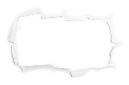 The big sheet of torn paper isolated on white background