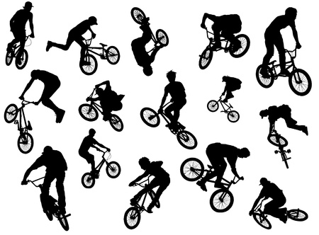 Black silhouettes of BMX-riders