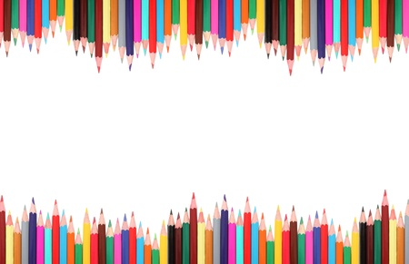 Frame made from colored pencils isolated on white background with shadows