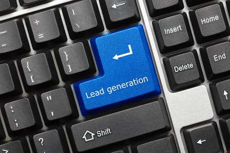 Close-up view on conceptual keyboard - Lead generation (blue key)