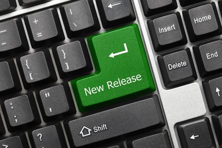 Photo pour Close-up view on conceptual keyboard - New Release (green key) - image libre de droit