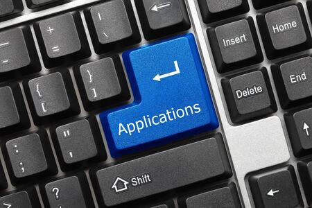 Photo pour Close-up view on conceptual keyboard - Applications (blue key) - image libre de droit