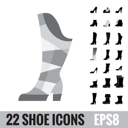 High Heel Fashion Woman Boots. Shoes vector icon collection. Set of logo isolated. Footwear signs or symbols